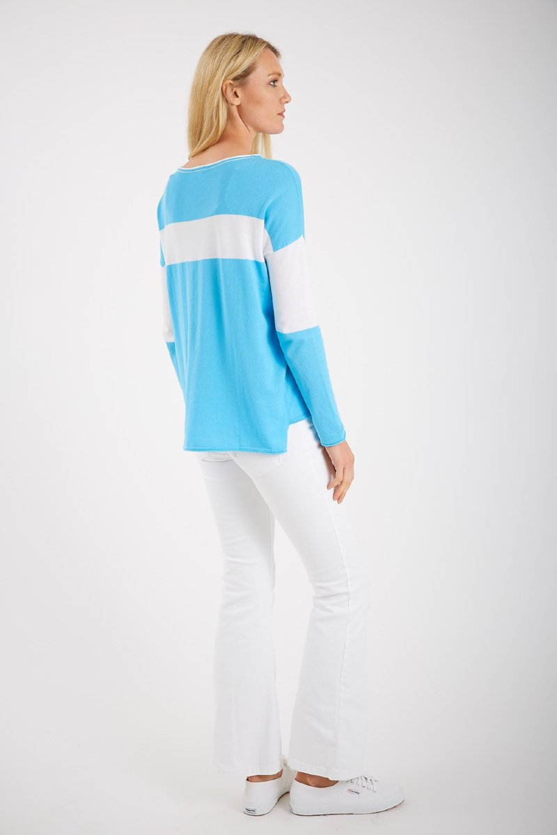 High/Low Color Block Sweater by Belford at Jophiel