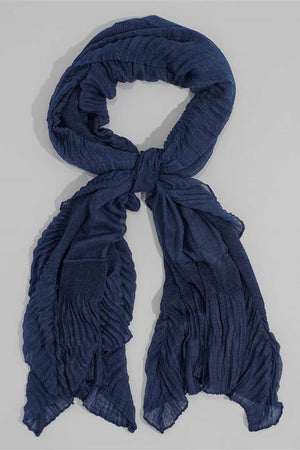 Solid Pleated Edge Oblong Scarf by Echo at Jophiel