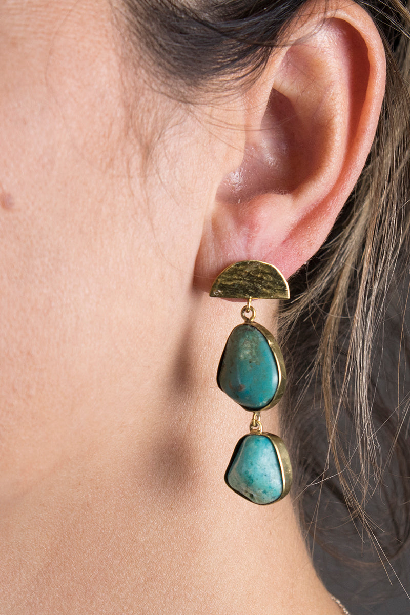 Flaca Jewelry Half Moon Turquoise Earring At Jophiel