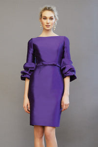 BOAT-NECK COCKTAIL DRESS WITH BOW BELT