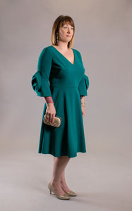 V-Neck 3/4 Sleeve Rosette A-Line Dress by Frascara