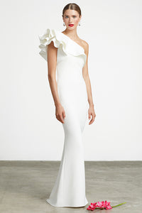 Ruffle One Shoulder Gown Style 3620 by Frascara at Jophiel