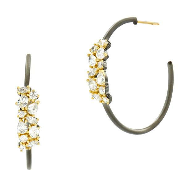 Midnight Embellished Hoop Earring by Freida Rothman at Jophiel