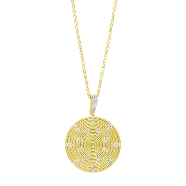 Fleur Bloom Empire Circular Ring Pendant Necklace by Freida Rothman at Jophiel