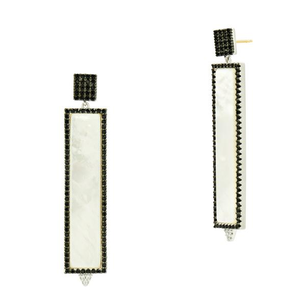 Industrial Finish Mother of Pearl Rectangle Earring by Freida Rothman at Jophiel