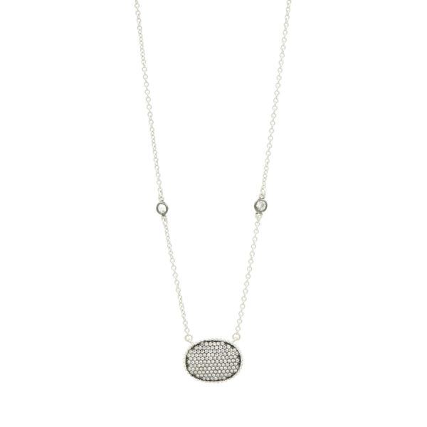 Signature Pavé Oval Disc Pendant Necklace by Freida Rothman at Jophiel