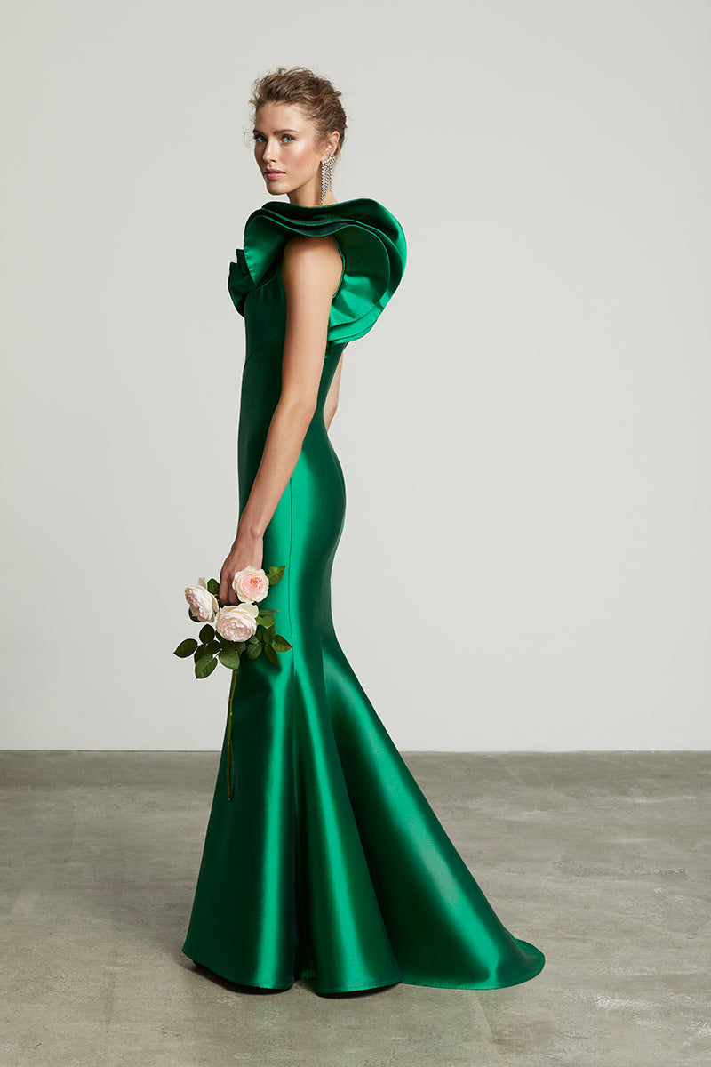 One Shoulder Mermaid Gown by Frascara at Jophiel