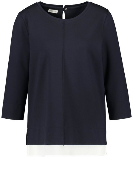 3/4 Sleeve Top With A Chiffon Trim by Gerry Weber at Jophiel