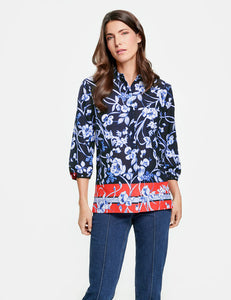 3/4 Sleeve Blouse With A Printed Border by Gerry Weber at Jophiel