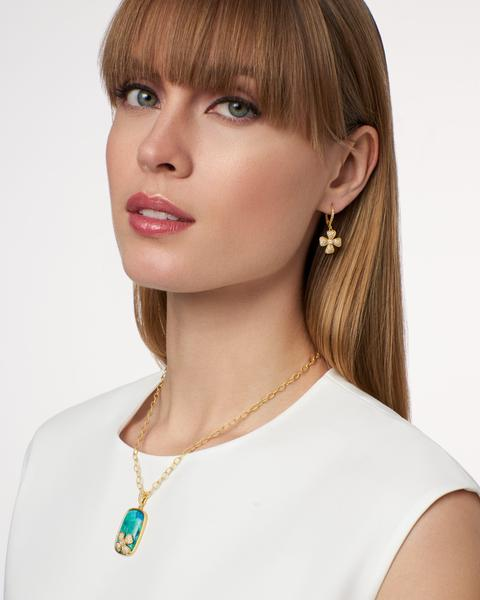 Harmony Pave Flower Lever Back Earring by Freida Rothman at Jophiel
