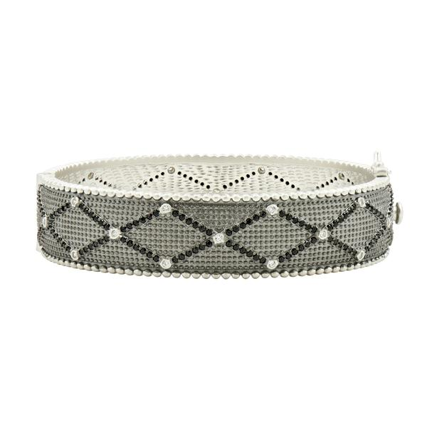 Industrial Finish Textured Hinged Bangle by Freida Rothman
