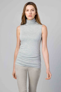 Kinross Cashmere Ruched Sleeveless Funnel