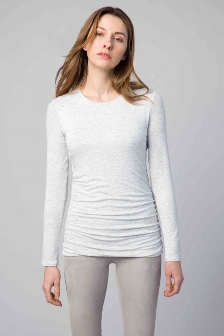 Kinross Cashmere Ruched Long Sleeve Crew