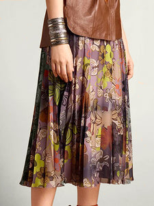 FLORAL PLEATED SILK SKIRT