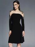 Lucian Matis Blk Sheer Aline Dress 1607