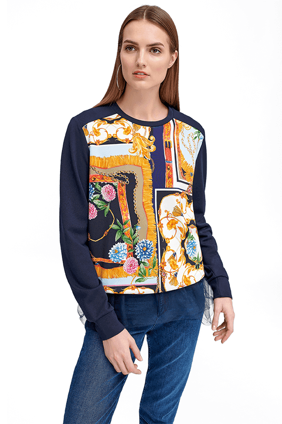 Long Sleeve Top with a Print by Riani at Jophiel