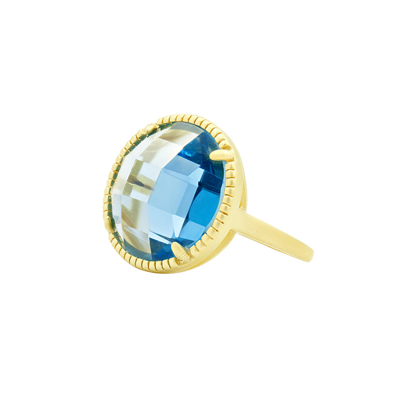 Imperial Blue Single Stone Cocktail Ring by Freida Rothman at Jophiel