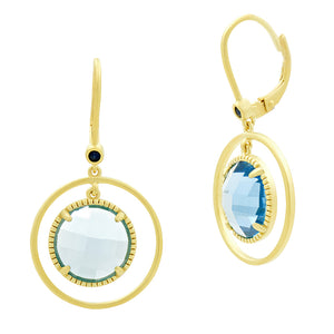 Imperial Blue Open Hoop Leverback Earrings by Freida Rothman at Jophiel