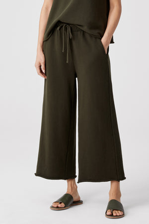 WIDE LEG CROPPED PANT W/ DRAWSTRING