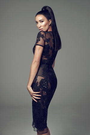 Wayne Clark Black Sheer Lace Cocktail Dress At Jophiel