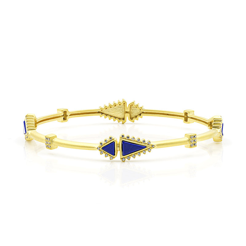 Freida Rothman Indigo Armour Slice Lapis Bangle Bracelet