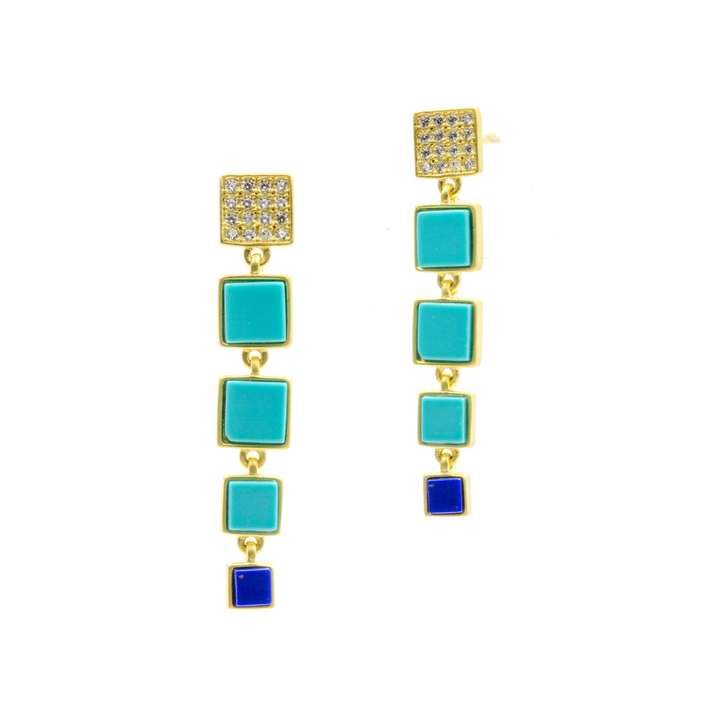 Freida Rothman Blue Bricked Lapis Linear Drop Earrings