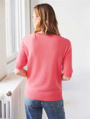 CASHMERE ELBOW SLEEVE V NECK T
