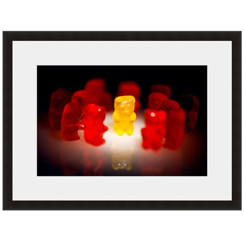 Gummy Bears Image shown in Onyx frame with white mat