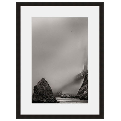 Image shown in Black Onyx frame with white mat. San Francisco, California, Golden Gate Bridge, photographed through the clouds by Vincent Versace.