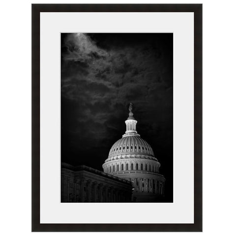 Image shown in Black Onyx frame with white mat. Capitol Building, Washington DC, The nations Capitol Building. Photographed by Vincent Versace