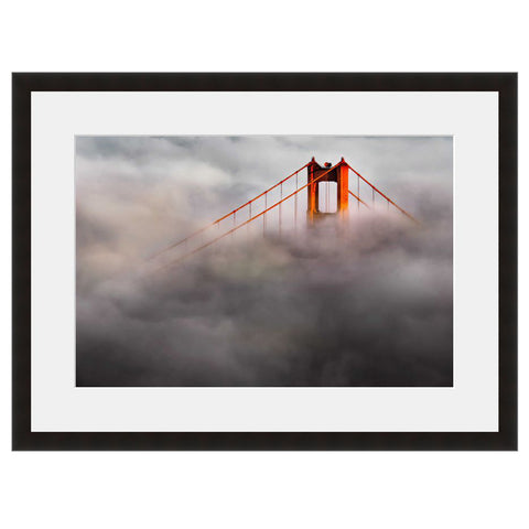 Image shown in Black Onyx frame with white mat. San Francisco, California, Golden Gate Bridge, photographed through the clouds.