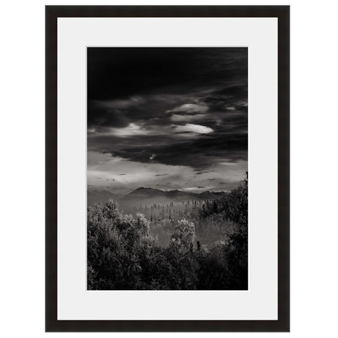 Image shown in Black Onyx frame with white mat. Mountains, Forest, Trees and Clouds photographed through the clouds.