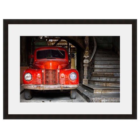 Image shown in Black Onyx frame with white mat. Vintage Red Truck, photographed by Vincent Versace.