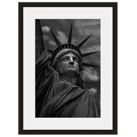 Image shown in Black Onyx frame with white mat. Statue Of Liberty, Ellis Island, New York City, New York, photographed in color by Vincent Versace.