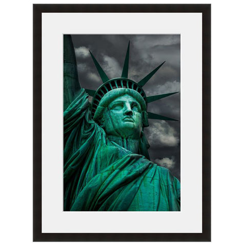 Image shown in Black Onyx frame with white mat. Statue Of Liberty, Ellis Island, New York City, New York, photographed in black and white by Vincent Versace.