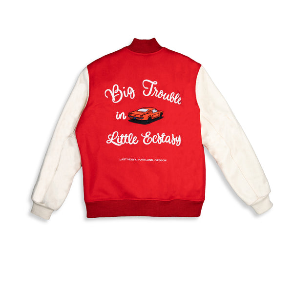 Last Heavy Varsity Jacket - Red Wool- 'Big Trouble In Little Ecstasy' - Clear Weather