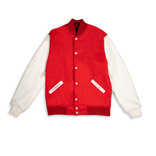 Load image into Gallery viewer, Last Heavy Varsity Jacket - Red Wool- 'Big Trouble In Little Ecstasy' - Clear Weather