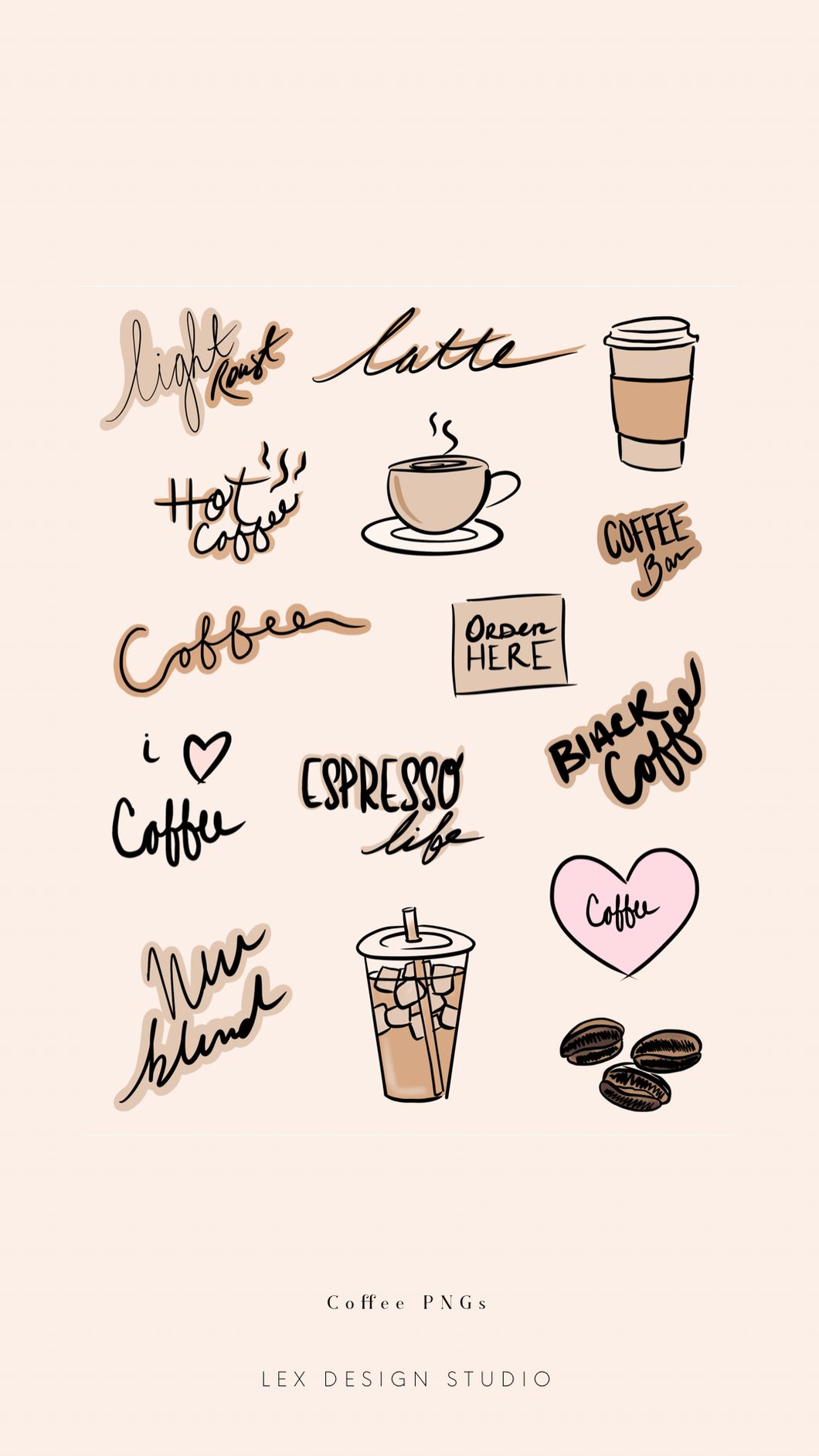 Coffee Hand Lettered PNGs: Digital Download
