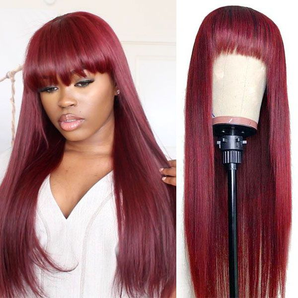 Mstoxic Straight Human Hair Wigs With Bangs Full Machine Made Wigs 613 Blonde Wig Colored Wigs 99J Red Peruvian Remy Hair Wig - Quick two Ship