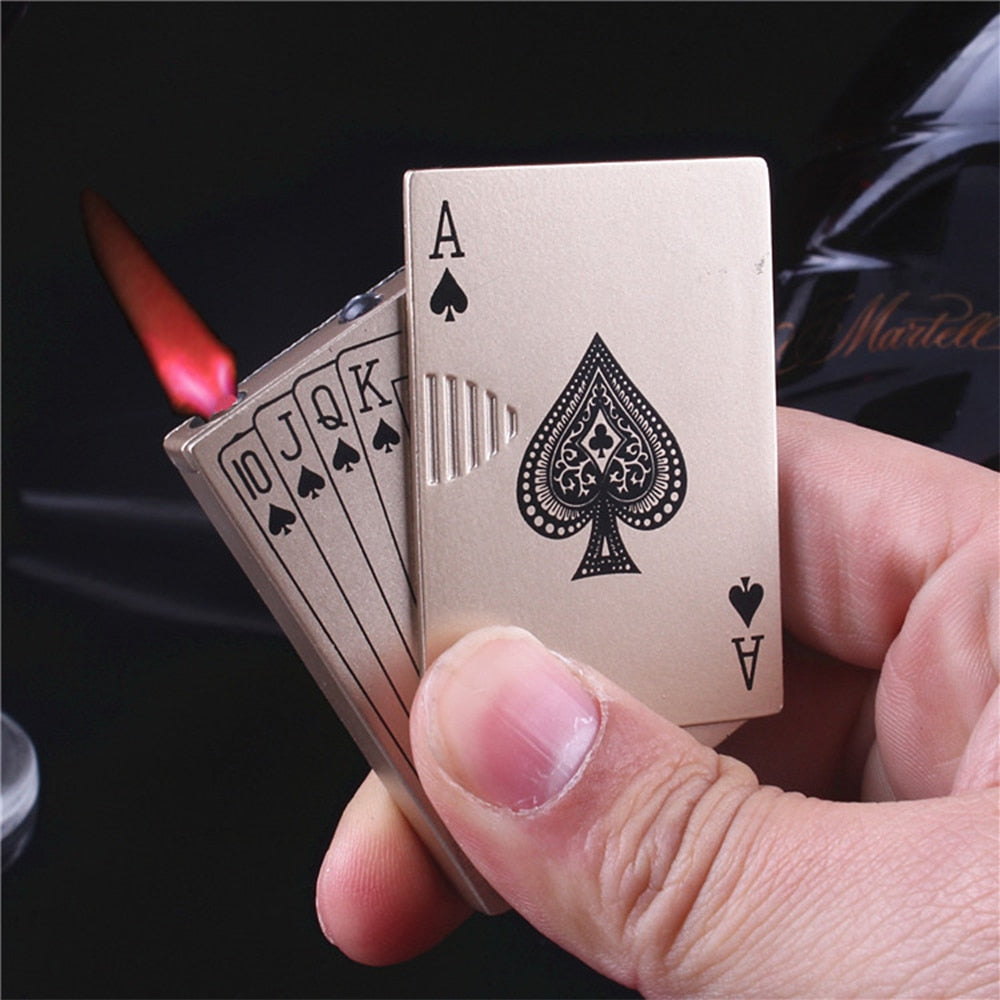 New Creative Jet Torch Turbo Lighter Portable Light Playing Cards Butane Windproof Metal Lighter Metal Funny Toys For Men - Quick two Ship