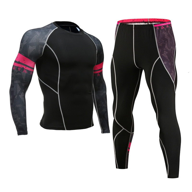 Men's Compression Sportswear Suits Gym Tights Training Clothes Workout Jogging Sports Set Running Rashguard Tracksuit For Men - Quick two Ship