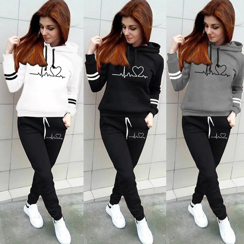 Winter Tracksuit Women Pullovers Hoodies+Pants Jogging Female Two Pieces Set Sports Suit for Women Clothing Outfits - Quick two Ship