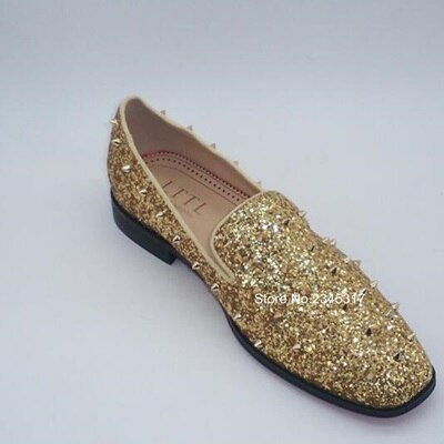 New Handmade Gold Glitter Loafers Men Rivets Shoes Fashion Slip On Dress Shoes High Quality Banquet And Wedding Shoes - Quick two Ship