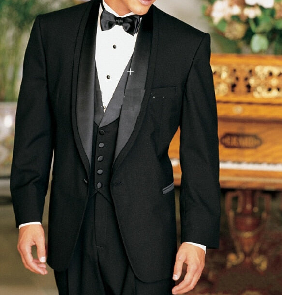 TOP SALE/Custom Made Black Satin Lapel Groom Tuxedos Groomsmen Best Man Suit/Men Wedding Suits/Bridegroom Suitwedding men clothe - Quick two Ship