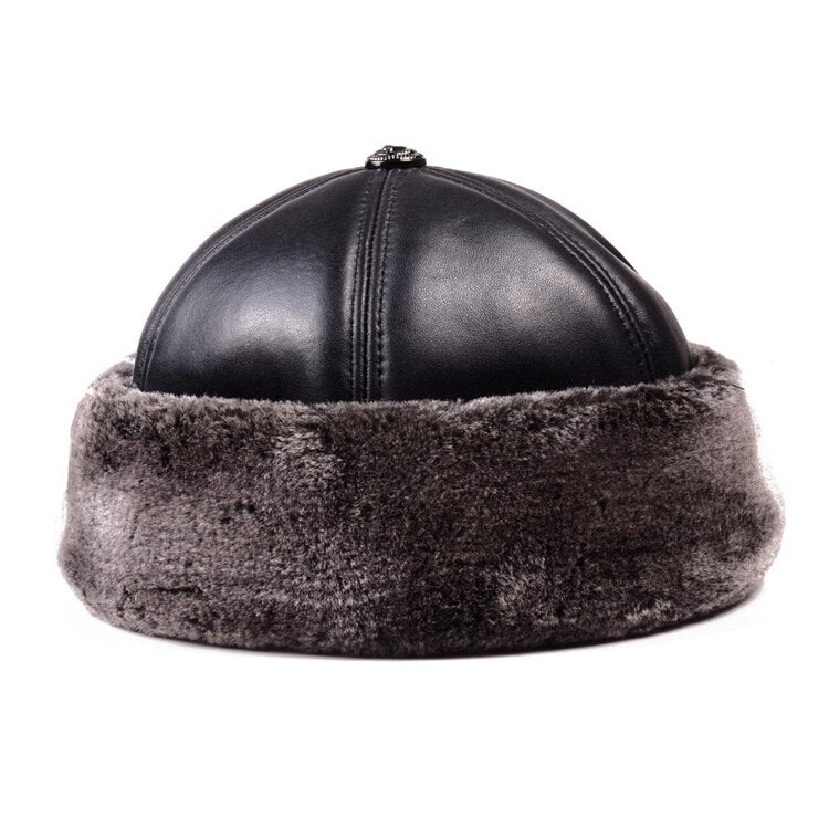 Men's Genuine Leather  Winter Warm Thick lining Skullcap Beanies Beret Round Hat Brimless Caps/Hats - Quick two Ship