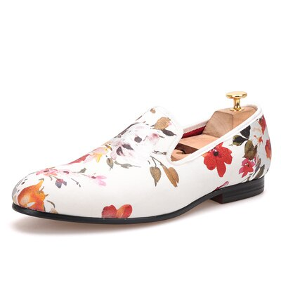 Men Wedding and Party shoes White stretch cloth bronze flower hand-European and American low-cost men's shoes - Quick two Ship