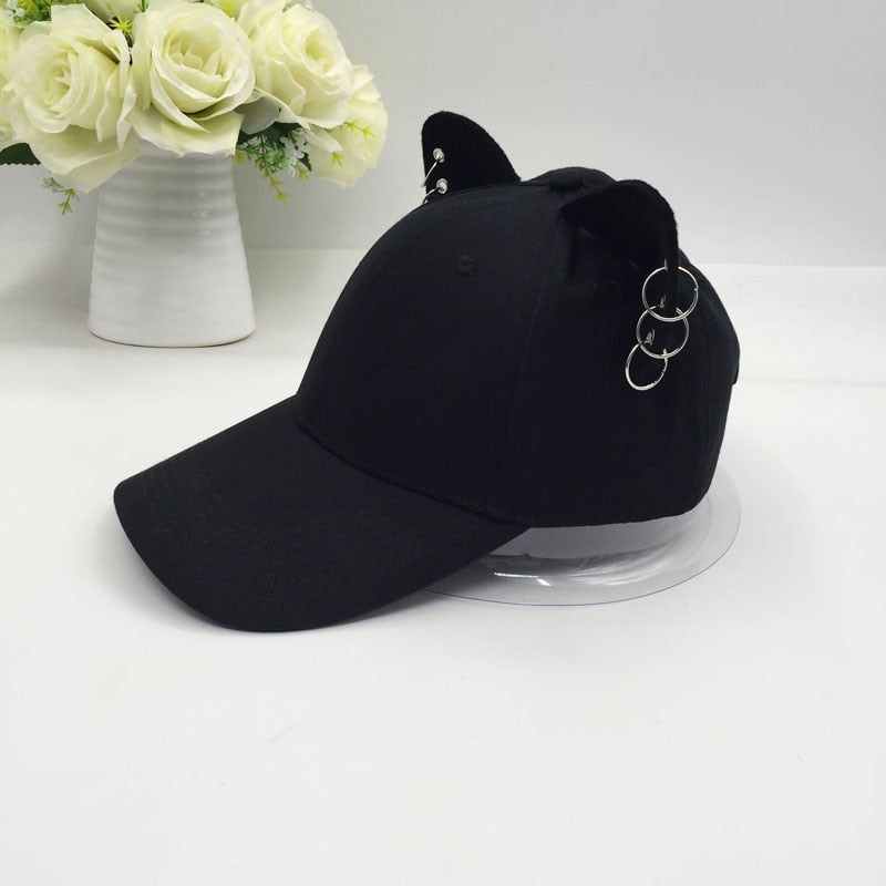 the new British men and women cotton baseball cap cat ears equestrian travel cap hat metal ring - Quick two Ship