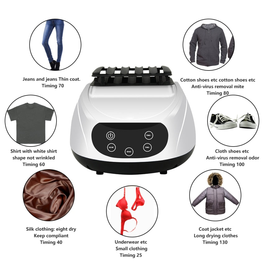 1300W Mini Portable Cloth Dryer Electric Laundry Air Warmer Smart Clothes Dryer Clothing Shoes Heater Dehydrator Travel Home Use - Quick two Ship