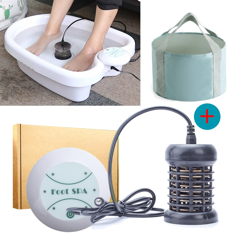 Foot Massage Ionic Detox Foot Bath Aqua Cell Spa Machine Ion Cleanse Ionic Foot Bath Massage Detox Foot Detox Arrays Aqua Spa - Quick two Ship