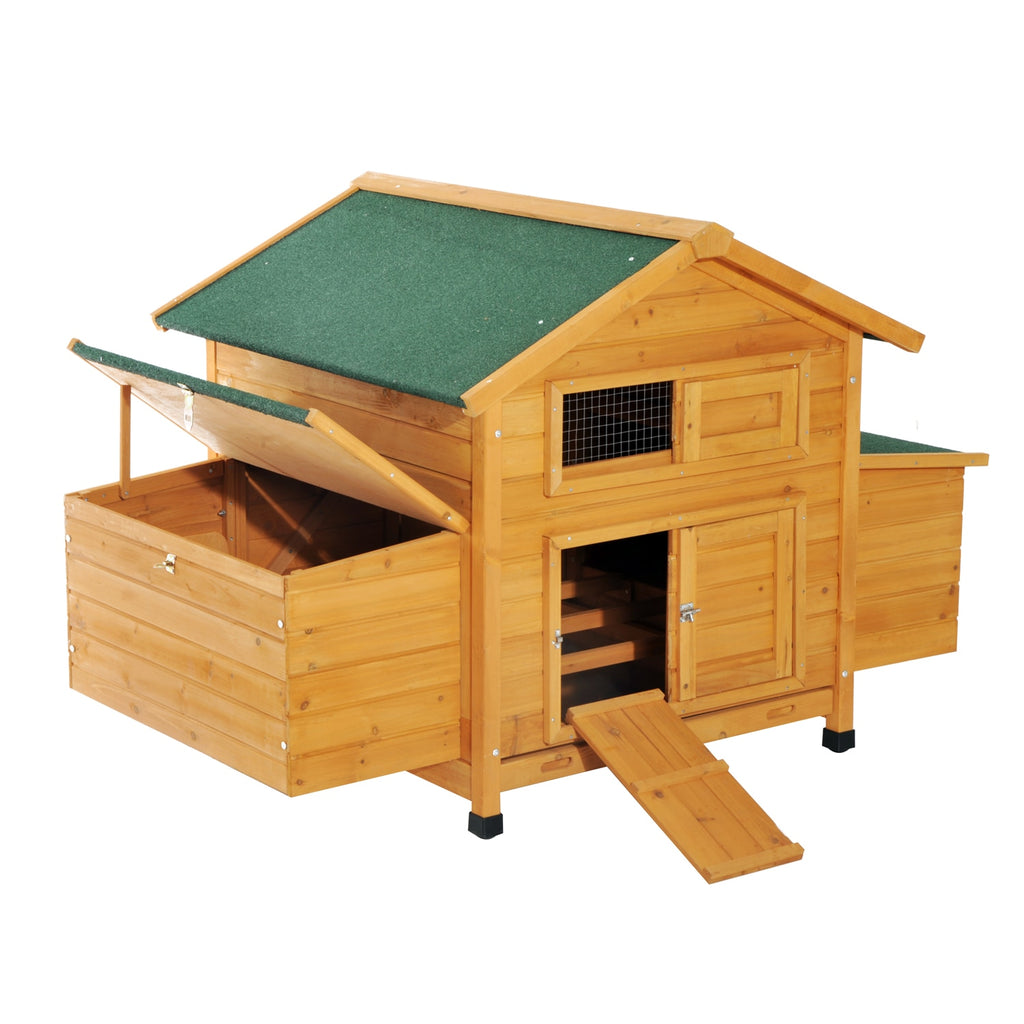 PawHut Henhouse big Wood FIR with Tray for Excrement Capacity 4-6 Hens 150x100x96.5 cm Water resistant - Quick two Ship